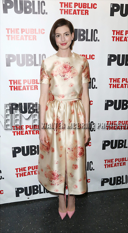 Anne Hathaway attends the Opening Night Celebration of 'Grounded' at the The Public Theatre on April 24, 2015 in New York City.