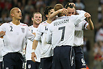 28 May 2008: John Terry (ENG) (6) celebrates his goal with teammates David Beckham (7), Owen Hargreaves (4), Wes Brown (2) and Wayne Rooney (behind). The England Men's National Team defeated the United States Men's National Team 2-0 at Wembley Stadium in London, England in an international friendly soccer match.