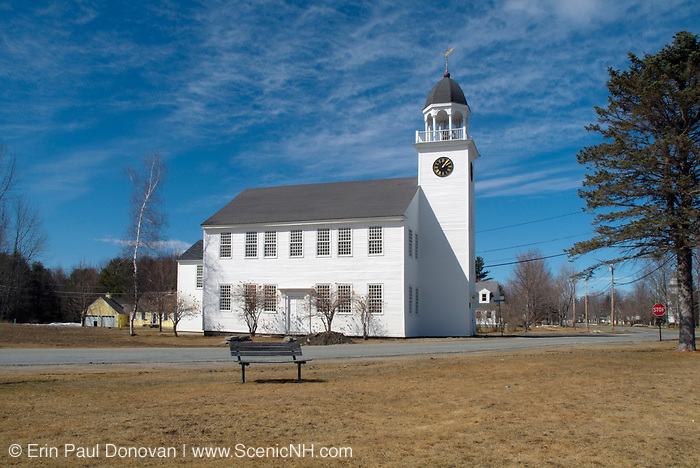 Canaan Meetinghouse  which was built in 1793 by William Parkhurst. Located in historic Canaan, New Hampshire, USA, which is part of New England. Also known as the Canaan Town Hall and it is listed on the National Register