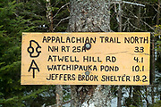 Appalachian Trail North sign on the summit of Mount Cube in Lyme, New Hampshire.