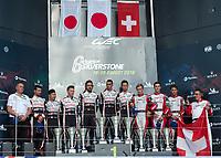 Mike Conway (GBR), Kamui Kobayashi (JPN), Jose Maria Lopez (ARG) of TOYOTA GAZOO RACING (JPN), Sebastien Buemi (CHE), Fernando Alonso (ESP), Kazuki Nakajima (JPN) of TOYOTA GAZOO RACING (JPN) and Mathias Beche (CHE), Thomas Laurent (FRA), Gustavo Menezes (USA) of REBELLION (CHE) on the podium during the 2018 Silverstone - FIA World Endurance Championship at Silverstone Circuit, Towcester, England on 19 August 2018. Photo by Vince  Mignott.