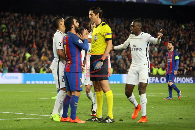 UEFA Champions League 2016/2017.<br /> Round of 16 2nd leg<br /> FC Barcelona vs Paris Saint-Germain: 6-1.<br /> Arda Turan &amp; Deniz Aytekin.
