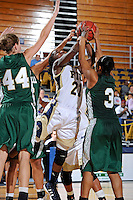 11 November 2011:  FIU's Timeyin Oritsesan (21) battles Jacksonville Jessica George (3) for a rebound in the second half as the FIU Golden Panthers defeated the Jacksonville University Dolphins, 63-37, at the U.S. Century Bank Arena in Miami, Florida.