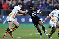 Aled Brew of Bath Rugby takes on the Wasps defence. Heineken Champions Cup match, between Bath Rugby and Wasps on January 12, 2019 at the Recreation Ground in Bath, England. Photo by: Patrick Khachfe / Onside Images