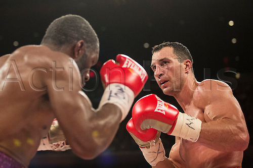 25.04.2015. Madison Square Garden, New York, USA.  Wladimir Klitschko and Bryant Jennings during the World Heavyweight Championship match at Madison Square Garden on April 25, 2015 in New York, New York.