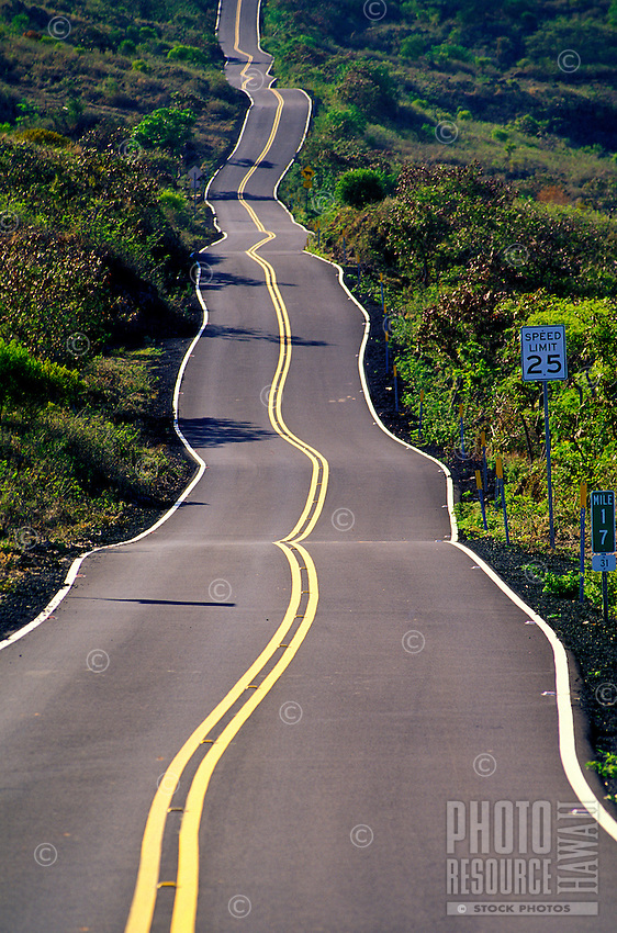 """Often referred to as """"the back side"""" of Hana or Kaupo, this road cuts a zigzag course in sections through a rough, often arid landscape including Hawaiian Homesteads, cattle ranches, open spaces and spectacular coastal and mountain views."""