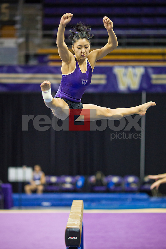 Hatsune Akaogi....Washington Huskies gymnastics vs. the UCLA Bruins at Alaska Airlines Arena at Hec Edmundson Pavilion in Seattle on Friday, January 27, 2012. (Photo by Dan DeLong/Red Box Pictures)