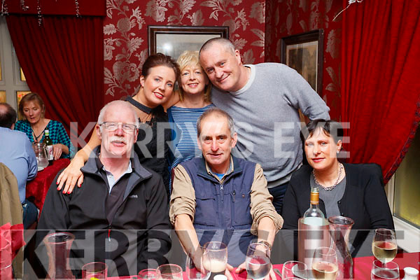 Enjoying a night out in Cassidy's restaurant, Tralee, on Saturday night last, were l-r: Billy Heaslip, Billy Revington and Rose Heaslip. Back l-r: Sinead Kennedy, Kay Revington and John Kennedy.