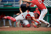 Auburn Doubledays catcher Wilmer Perez (45) is knocked off balance after he tagged out Davis Bradshaw (27) on a play at home plate as home plate umpire Roberto Pattison looks on during a game against the Batavia Muckdogs on September 2, 2018 at Dwyer Stadium in Batavia, New York.  Batavia defeated Auburn 5-4.  (Mike Janes/Four Seam Images)
