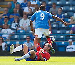 David Weir loses out in a challenge to Frederic Piquionne and can't recover back in time to prevent the Portsmouth player scoring his second goal of the match