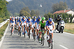 FDJ on the front of the peloton during the 98th edition of Milano-Torino 2017, running 186km from San Giuliano Milanese (Sesto Ulteriano) to the Basilica at Superga, above the city of Turin, Milan, Italy. 5th October 2017.<br /> Picture: LaPresse/Fabio Ferrari | Cyclefile<br /> <br /> <br /> All photos usage must carry mandatory copyright credit (&copy; Cyclefile | LaPresse/Fabio Ferrari)