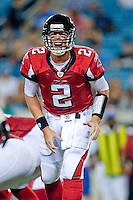 August 19, 2011:   Atlanta Falcons quarterback Matt Ryan (2) calls a play at the line of scrimmage during pre season action between the Jacksonville Jaguars and the Atlanta Falcons at EverBank Field in Jacksonville, Florida.   Jacksonville defeated the Falcons 15-13.........