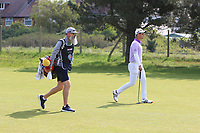 Lucas Herbert (AUS) and his caddy Nick Pugh on the 1st fairway during Round 3 of the Betfred British Masters 2019 at Hillside Golf Club, Southport, Lancashire, England. 11/05/19<br /> <br /> Picture: Thos Caffrey / Golffile<br /> <br /> All photos usage must carry mandatory copyright credit (&copy; Golffile | Thos Caffrey
