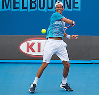JUAN IGNACIO CHELA (27) (ARG) against DAVID FERRER (ESP) in the third round of the Men's Singles. David Ferrer beat Juan Ignacio Chela 7-5 6-2 6-1..21/01/2012, 21st January 2012, 21.01.2012..The Australian Open, Melbourne Park, Melbourne,Victoria, Australia.@AMN IMAGES, Frey, Advantage Media Network, 30, Cleveland Street, London, W1T 4JD .Tel - +44 208 947 0100..email - mfrey@advantagemedianet.com..www.amnimages.photoshelter.com.