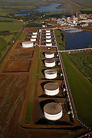 Aerial view of ethanol storage tanks at Sao Martinho ethanol and sugar plant, Pradopolis city in Ribeirao Preto region, Sao Paulo State, Brazil.