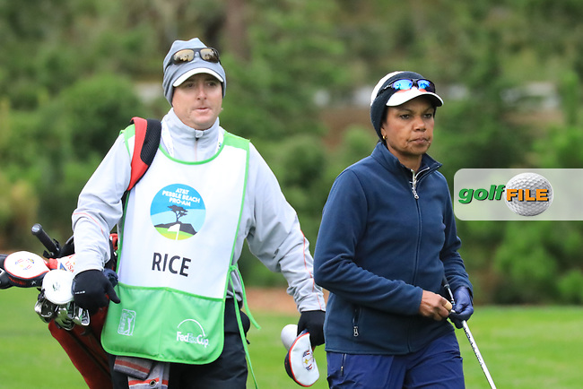Condoleeza Rice, Former Secretary of State in action at Spyglass Hill Golf Course during the second round of the AT&amp;T Pro-Am, Pebble Beach Golf Links, Monterey, USA. 08/02/2019<br /> Picture: Golffile | Phil Inglis<br /> <br /> <br /> All photo usage must carry mandatory copyright credit (&copy; Golffile | Phil Inglis)