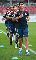 August 21 2010 New York Red Bulls forward Juan Pablo Angel # 9 leads the warm-up with New York Red Bulls defender Carlos Mendes #44 and  New York Red Bulls forward Thierry Henry #14 close behind during a game between the New York Red Bulls and Toronto FC at BMO Field in Toronto..The New York Red Bulls won 4-1.
