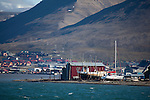 The port of Longyearbyen, Spitsbergen, in the archipelago of Svalbard.