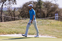 Alejandro Canizares (ESP) on the 18th green during the third round of the Mutuactivos Open de Espana, Club de Campo Villa de Madrid, Madrid, Madrid, Spain. 05/10/2019.<br /> Picture Hugo Alcalde / Golffile.ie<br /> <br /> All photo usage must carry mandatory copyright credit (© Golffile | Hugo Alcalde)