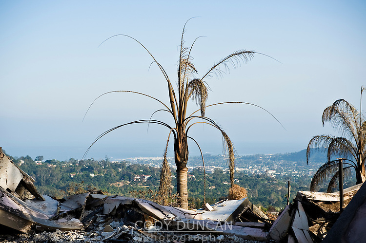Holly Rd, Santa Barbara, California. Remains of house destroyed by Jesusita fire. May 2009