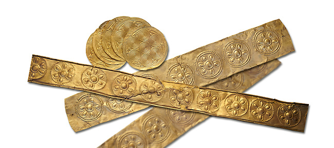 Mycenaean Gold decrated bands and circuar gold foilsd from Grave IV, Grave Circle A, Myenae, Greece. National Archaeological Museum Athens. 16th Cent BC. White Background.