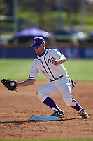 High Point Panthers first baseman Jordan Sergent (9) makes a put out during the game against the NJIT Highlanders at Williard Stadium on February 19, 2017 in High Point, North Carolina. The Panthers defeated the Highlanders 6-5. (Brian Westerholt/Four Seam Images)