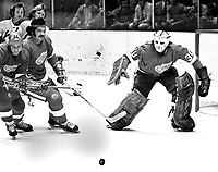 Detroit Red Wings ...goalie Dennis DeJordy losing his stick...(1973 photo/Ron Riesterer)