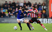 Crewe Alexandra's Corey Whelan shields the ball from Lincoln City's Bruno Andrade<br /> <br /> Photographer Chris Vaughan/CameraSport<br /> <br /> The EFL Sky Bet League Two - Lincoln City v Crewe Alexandra - Saturday 6th October 2018 - Sincil Bank - Lincoln<br /> <br /> World Copyright &copy; 2018 CameraSport. All rights reserved. 43 Linden Ave. Countesthorpe. Leicester. England. LE8 5PG - Tel: +44 (0) 116 277 4147 - admin@camerasport.com - www.camerasport.com