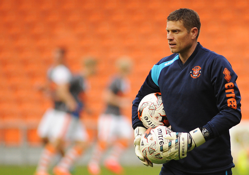 Blackpool goalkeeping coach Steve Banks during the pre-match warm-up <br /> <br /> Photographer Kevin Barnes/CameraSport<br /> <br /> Football - The Football League Sky Bet League One - Blackpool v Burton Albion - Tuesday 18th August 2015 - Bloomfield Road - Blackpool<br /> <br /> &copy; CameraSport - 43 Linden Ave. Countesthorpe. Leicester. England. LE8 5PG - Tel: +44 (0) 116 277 4147 - admin@camerasport.com - www.camerasport.com