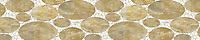 "8"" Muna border, a hand-cut stone mosaic, shown in polished Honey Onyx, Calacatta Tia , and Thassos."