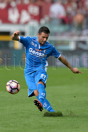 19.09.2016. Stadio Olimpico, Torino, Italy. Serie A Football. Torino versus Empoli. Manuel Pasqual gets his shot on goal