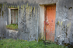 Isle of Lewis and Harris, Scotland:<br /> Window and door on an abandoned croft house with textured walls