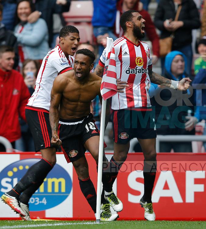 Jermain Defoe of Sunderland celebrates his winning goal during the Barclays Premier League match at the Stadium of Light, Sunderland. Photo credit should read: Simon Bellis/Sportimage