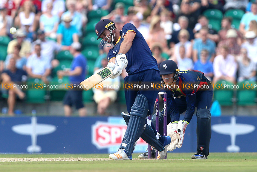 Ryan ten Doeschate hits six runs for Essex as Sam Billings looks on from behind the stumps during Kent Spitfires vs Essex Eagles, NatWest T20 Blast Cricket at The County Ground on 9th July 2017