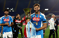 Napoli's Fernando Llorente holds the trophy at the end of the Italian Cup football final match between Napoli and Juventus at Rome's Olympic stadium, with closed doors, June 17, 2020. Napoli won 4-2 at the end of a penalty shootout following a scoreless draw.<br /> UPDATE IMAGES PRESS/Isabella Bonotto