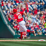 23 August 2015: Washington Nationals catcher Wilson Ramos rounds the bases after hitting a solo home run in the 5th inning against the Milwaukee Brewers at Nationals Park in Washington, DC. The Nationals defeated the Brewers 9-5 in the third game of their 3-game weekend series. Mandatory Credit: Ed Wolfstein Photo *** RAW (NEF) Image File Available ***