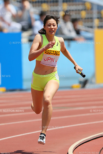 Sayaka Aoki (JPN), MAY 10, 2015 - Athletics : IAAF World Challenge Seiko Golden Grand Prix in Kawasaki, Women's 4400mR at Todoroki Stadium, Kanagawa, Japan. (Photo by YUTAKA/AFLO SPORT)