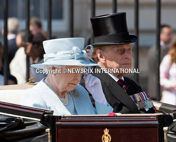 17.06.2017; London, UK: QUEEN ELIZABETH AND DUKE OF EDINBURGH <br /> attend the Trooping The Colour to celebrate the Queen&rsquo;s 91st Official Birthday<br /> Royals present included the Duke of Edinburgh, Prince Charles and Camilla, Duchess of Cornwall, Prince William, Kate Middleton, Prince George; Princess Charlotte; Prince Harry, Prince Andrew; Princess Beatrice, Princess Eugenie, Prince Edward, Princess Anne, Zara Phillips &amp; Mike Tindal, Prince and Princess Michael Of Kent, Lady Helen Taylor, Duke of Kent, Duke of Gloucester and Duchess of Gloucester,Peter Phillips and Autumn and Lady Amelia Windsor.<br /> Mandatory Credit Photo: &copy;Joe Dias/NEWSPIX INTERNATIONAL<br /> <br /> IMMEDIATE CONFIRMATION OF USAGE REQUIRED:<br /> Newspix International, 31 Chinnery Hill, Bishop's Stortford, ENGLAND CM23 3PS<br /> Tel:+441279 324672  ; Fax: +441279656877<br /> Mobile:  07775681153<br /> e-mail: info@newspixinternational.co.uk<br /> Usage Implies Acceptance of OUr Terms &amp; Conditions<br /> Please refer to usage terms. All Fees Payable To Newspix International