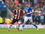 Lee Evans of Sheffield Utd and Lukas Jutkiewicz of Birmingham City  during the championship match at St Andrews Stadium, Birmingham. Picture date 21st April 2018. Picture credit should read: Simon Bellis/Sportimage