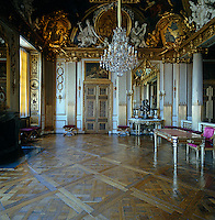 Gustaf III's State Bedroom was decorated by Jean Eric Rehn in the Gustavian style with carving by Jean-Baptiste Masreliez and retains its original Baroque ceiling