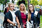 Level 5 Childcare: Eimear Ward, Abbeydorney, Jessica Mackey, Tralee and Rachel O'Sullivan, Tralee at the Kerry College of Further Education Graduations at the Brandon Hotel on Thursday.