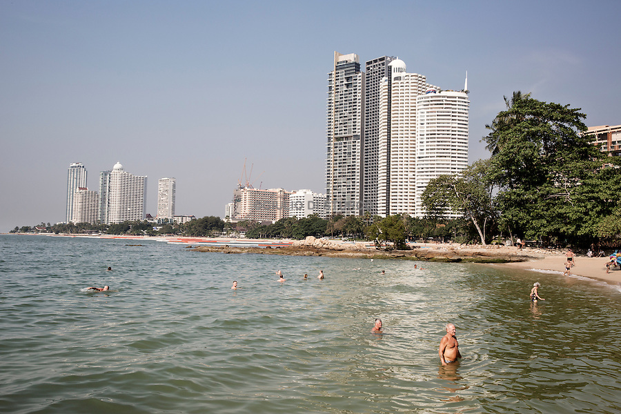 The beach at the end of Nakluea Soi 18 in Northern Pattaya, where most German tourists go to hangout and spend time during the day with the Thai prostitutes they pick up. <br /><br /><br />&copy; Giulio Di Sturco<br />Pattay, Thailand 2016