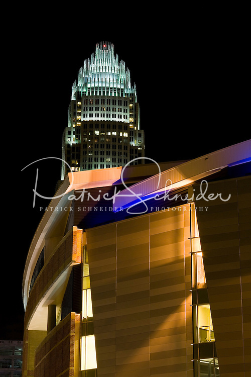 Night time exterior view of Time Warner Cable Arena in Charlotte, NC.