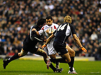 Twickenham, GREAT BRITAIN, Jason ROBINSON, cuts thorugh the gap between left James HAMILTON and Sean LAMONT, during the  England vs Scotland, Calcutta Cup Rugby match played at the  RFU Twickenham Stadium on Sat 03.02.2007  [Photo, Peter Spurrier/Intersport-images]....