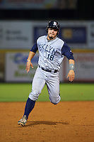 Brooklyn Cyclones catcher Brandon Brosher (18) running the bases during a game against the Tri-City ValleyCats on September 1, 2015 at Joseph L. Bruno Stadium in Troy, New York.  Tri-City defeated Brooklyn 5-4.  (Mike Janes/Four Seam Images)