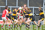 Brendan O'Keeffe Rathmore Colm Cooper Kieran O'Leary and David O'Leary  Crokes in the heat of the battle during the O'Donoghue Cup final in Fitzgerald Stadium on Sunday