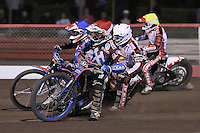 Heat 15: Davey Watt (red), Peter Karlsson (blue), Linus Sundstrom (white) and Ryan Sullivan - Lakeside Hammers vs Peterborough Panthers - Sky Sports Elite League Speedway at Arena Essex Raceway, Purfleet - 14/09/12 - MANDATORY CREDIT: Gavin Ellis/TGSPHOTO - Self billing applies where appropriate - 0845 094 6026 - contact@tgsphoto.co.uk - NO UNPAID USE.