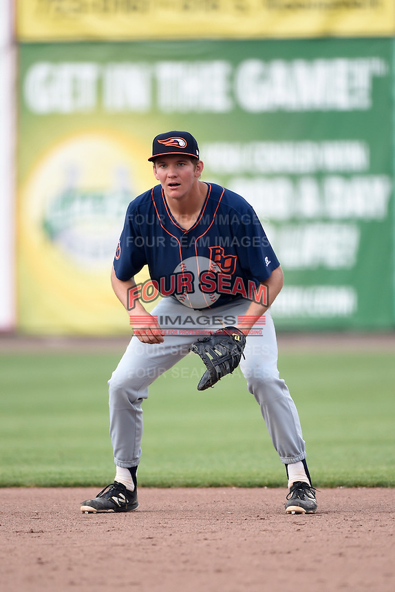 Bowing Green Hot Rods first baseman Michael Russell (22) during a game against the Burlington Bees on May 7, 2016 at Community Field in Burlington, Iowa.  Bowling Green defeated Burlington 11-1.  (Mike Janes/Four Seam Images)
