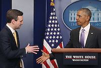 United States President Barack Obama shakes hands with White House Press Secretary Josh Earnest during his last briefing for the administration at the White House, on January 17, 2017 in Washington, DC. On Friday January 20th, President-elect Donald Trump will be sworn in as the nation's 45th president. Photo Credit: Mark Wilson/CNP/AdMedia
