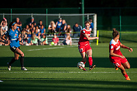 Kansas City, MO - Saturday May 27, 2017: Shea Groom, Alyssa Kleiner during a regular season National Women's Soccer League (NWSL) match between FC Kansas City and the Washington Spirit at Children's Mercy Victory Field.